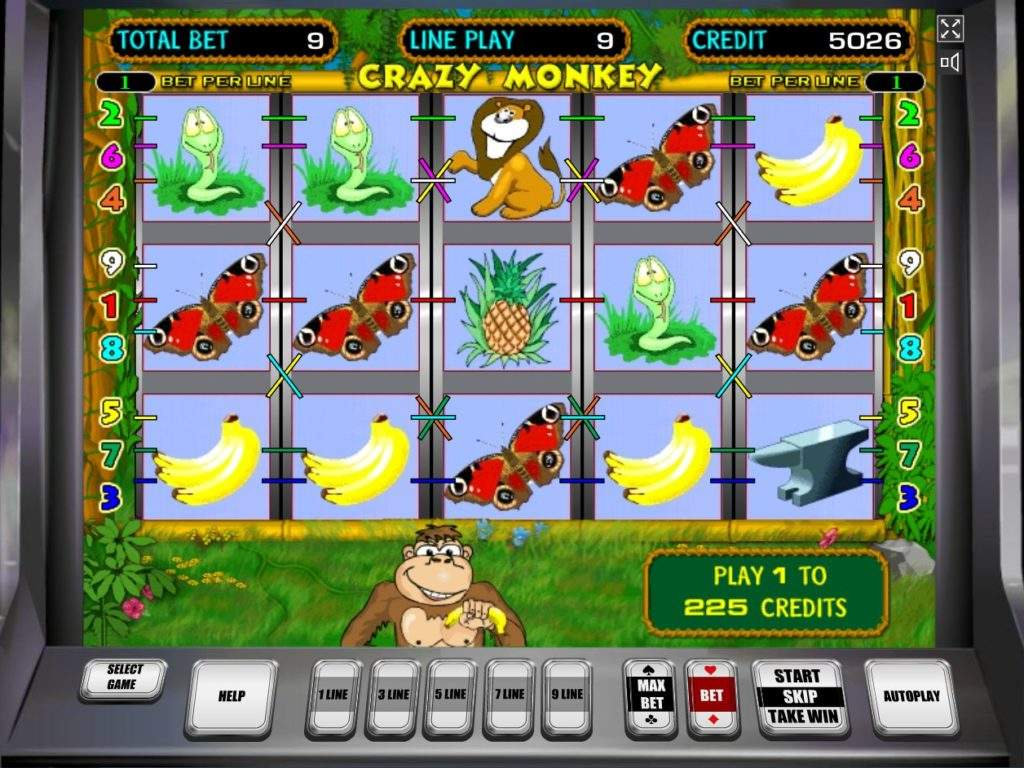 Игровой автомат Crazy Monkey и его характеристики