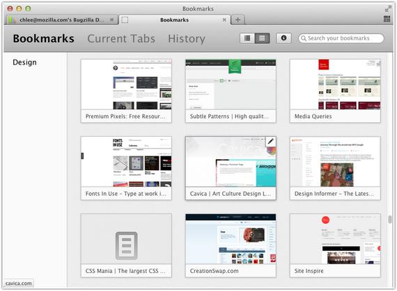 В Mozilla Firefox закладки будут отображаться как эскизы веб-страниц